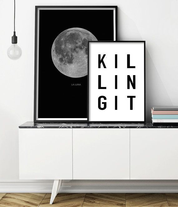 Killing It Printable Art, Black and White Typography Print. Art Prints for the Walls of your Home by Little Ink Empire on Etsy