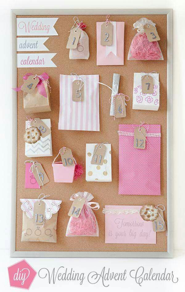 Wedding advent calendar! Bridesmaids could make for bride, groom for bride, or bride for groom. What a brilliant idea!