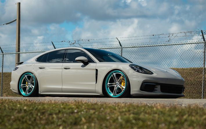 Download wallpapers Porsche Panamera, 2017, white sedan, tuning Panamera, sports sedan, HRE S207, HRE Performance Wheels, Porsche