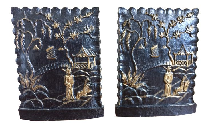 Vintage Black & Gold Asian Motif Bookends - A Pair on Chairish.com