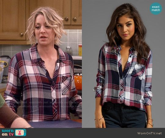Penny's navy and red plaid shirt on The Big Bang Theory.  Outfit Details: https://wornontv.net/56194/ #TheBigBangTheory