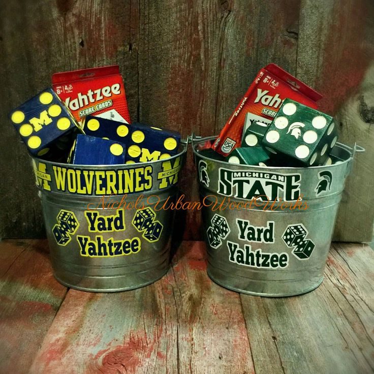 Michigan, Michigan State giant yard Yahtzee, 6 dice in galvanized bucket with 80 score cards by NicholsUrbanWoodWork on Etsy https://www.etsy.com/listing/471530375/michigan-michigan-state-giant-yard