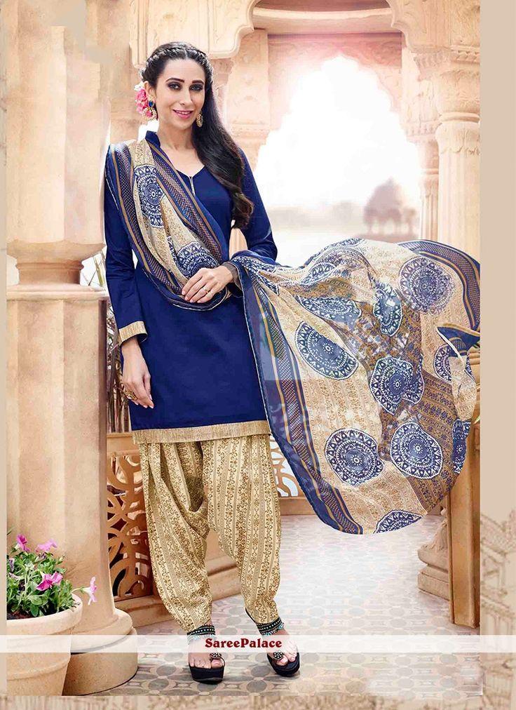 Karishma Kapoor Blue Designer Patiala Salwar Kameez
