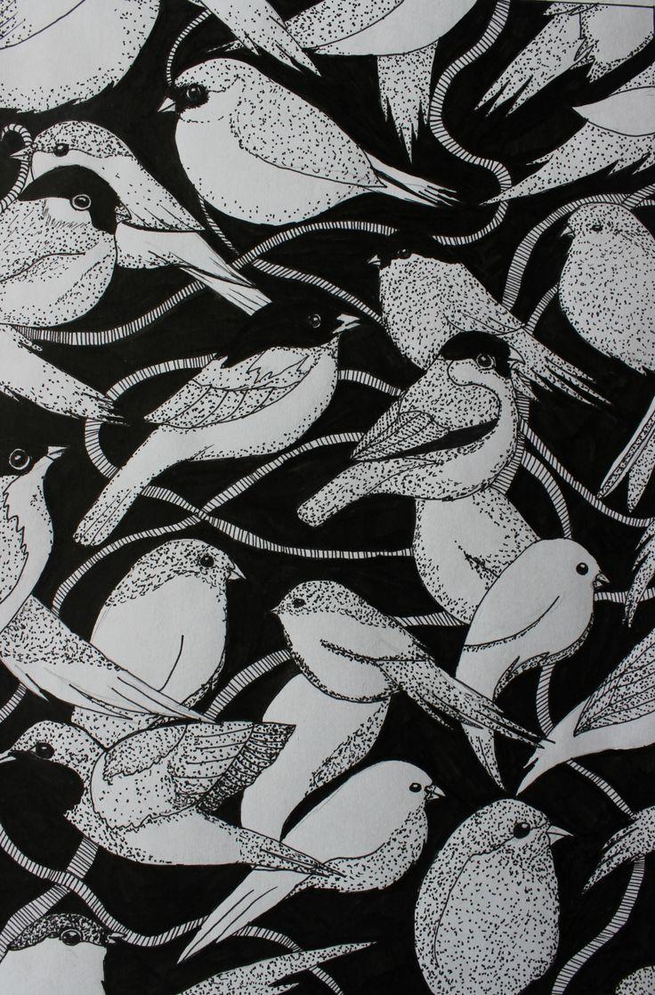 birds dotwork pattern