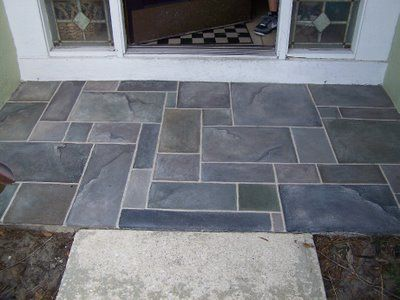 For My Front Stoop Faux Slate Tiles On Concrete Using Folkart Outdoor Opaque By Plaid