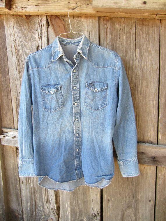 Vintage Distressed Wrangler Western Denim Shirt, S-M // Mens Sun Faded Blue Jean Cowboy Shirt