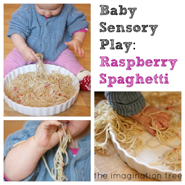 Baby Sensory Play: Raspberry Spaghetti - The Imagination Tree. So simple, why didn't I think of this?