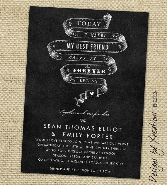 Today I Marry My Best Friend Chalkboard Style Wedding Invitation Customizable Wordings Print