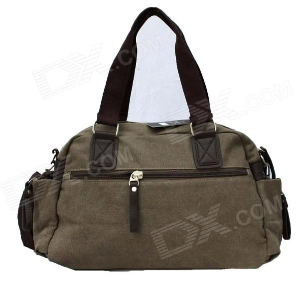Stylish Men's Canvas Shoulder Bag - Khaki