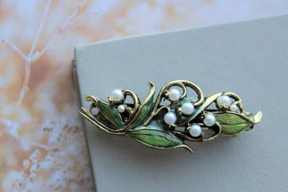 SALE Barrette with Lily of the Valley Flower Hair Piece