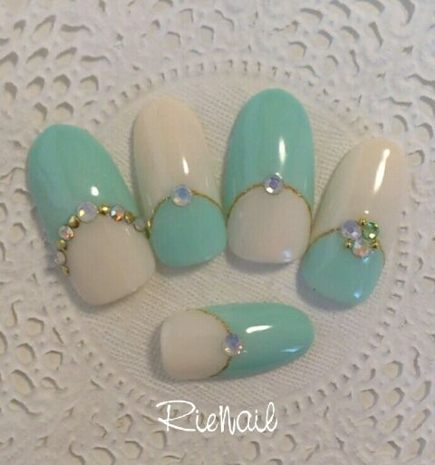 Turquoise & white with bling