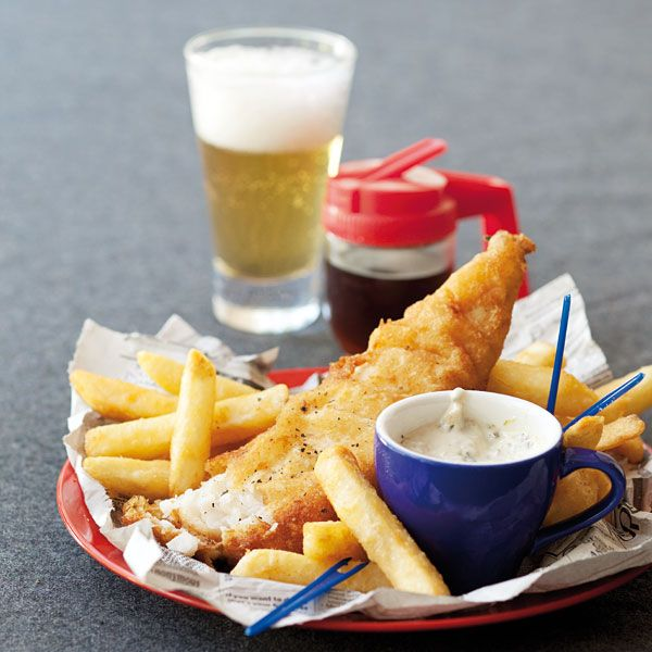 Fresh hake in a delicious beer batter. #England #Fishnchips
