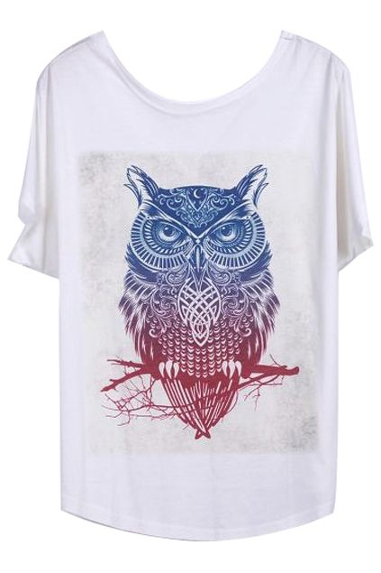 ROMWE | Owl Print Loose White T-shirt, The Latest Street Fashion