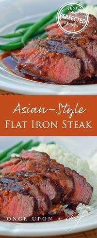 Broiled Asian-Style Flat Iron Steak - topped with a rich Asian-style brown sauce. With buttered rice and a steamed vegetable, it's an easy and elegant dinner that you can have on the table in under 30 minutes. #beef #dinnertime #dinnerideas #asianstyle #dinnertonight #testedandperfected