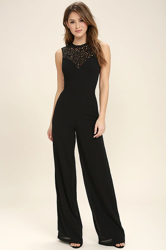 You can always look to the I Turn to You Black Sequin Jumpsuit for a good time! Stunning sequins create an intricate pattern above a sleeveless, princess-seamed bodice with sweetheart silhouette. High-waisted wide-leg pants. Back keyhole with top button and hidden zipper/clasp.