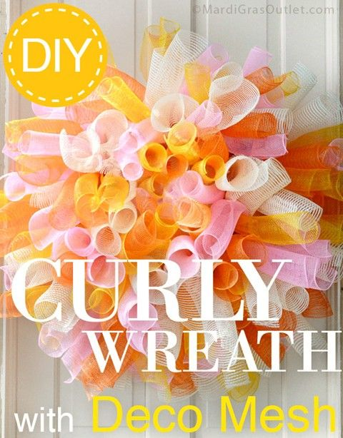 Long awaited tutorial for a curly style Deco Mesh wreath (same as the cute pumpkin featured last fall)