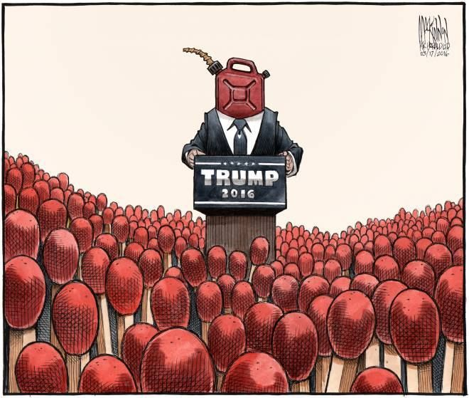 This is one of the best cartoons that really sums up Trump's Presidential campaign.