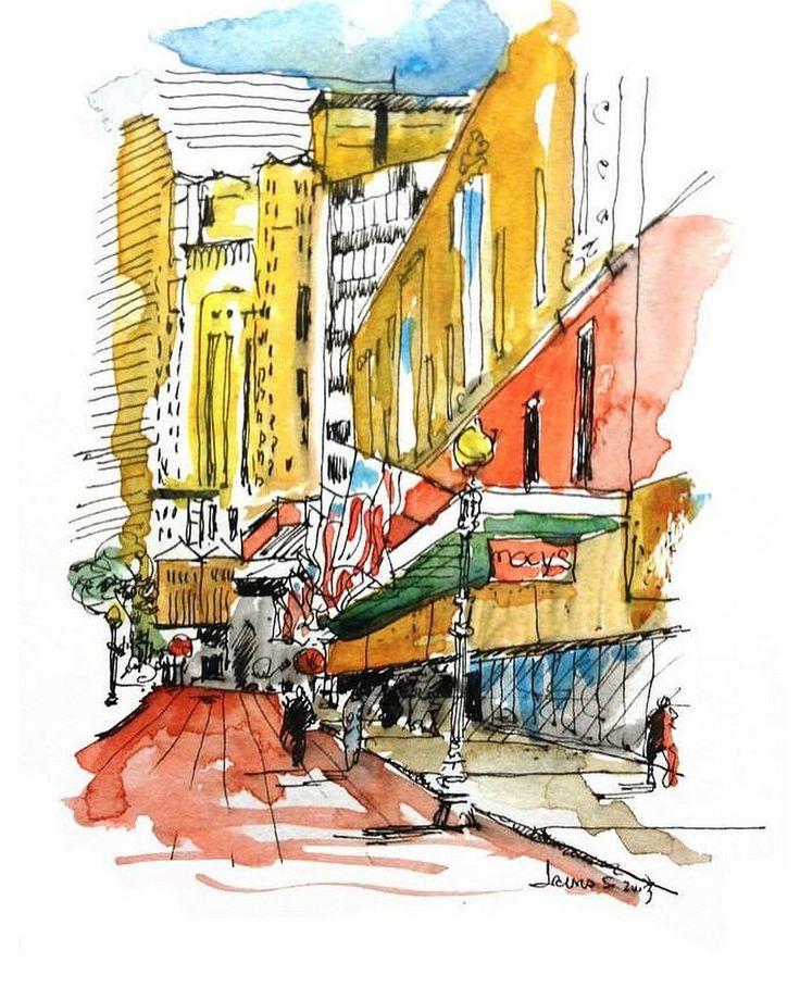 #urbansketchers #urbansketch #urbansketchersboston #downtownboston #watercolor #sketch