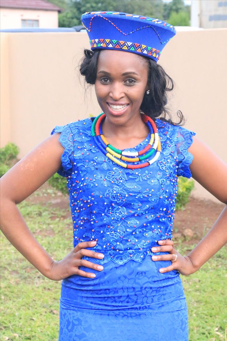 Blue became you my darling sister. Beautiful Tswana bride in Zulu traditional wear..