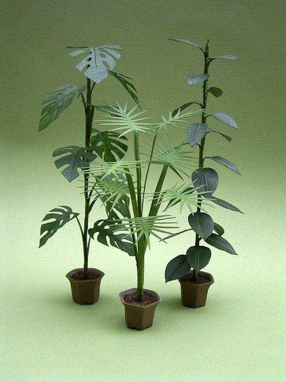 Hoja de instrucciones para grandes plantas de interior para casas de muñecas escala 1/12, floristerías y jardines miniatura