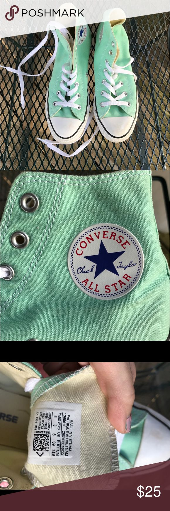 Converse Hightops Mint Only worn TWICE!! Were a birthday gift. Converse Shoes