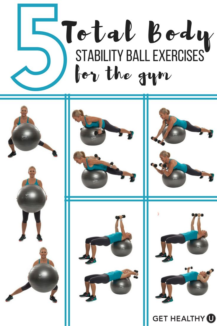 Check out these 5 Total Body Stability Ball Exercises for the Gym! These demanding workouts will blast your core, challenge your balance and give you a total body workout! Grab you stability ball, a set of hand weights and let's go!