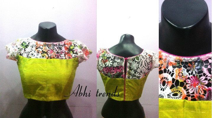Boat neck blouse with lace upper body