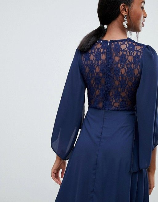 8297f478d3 John Zack Tall lace top midi skater dress with cape detail in navy ...
