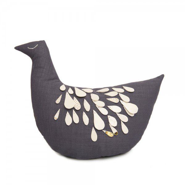 PRIDEFUL CHICK. Collection: DROPS by Irina Neacșu & Mădălina Andronic. Composition: textile collage: linen, painted porcelain. Dimensions: width: 17 cm, height: 46 cm. Irina Neacsu Studio. Art. Design. Architecture. Chick.Prideful. Cushion. Linen. Painted porcelain. Brasov. Romania.