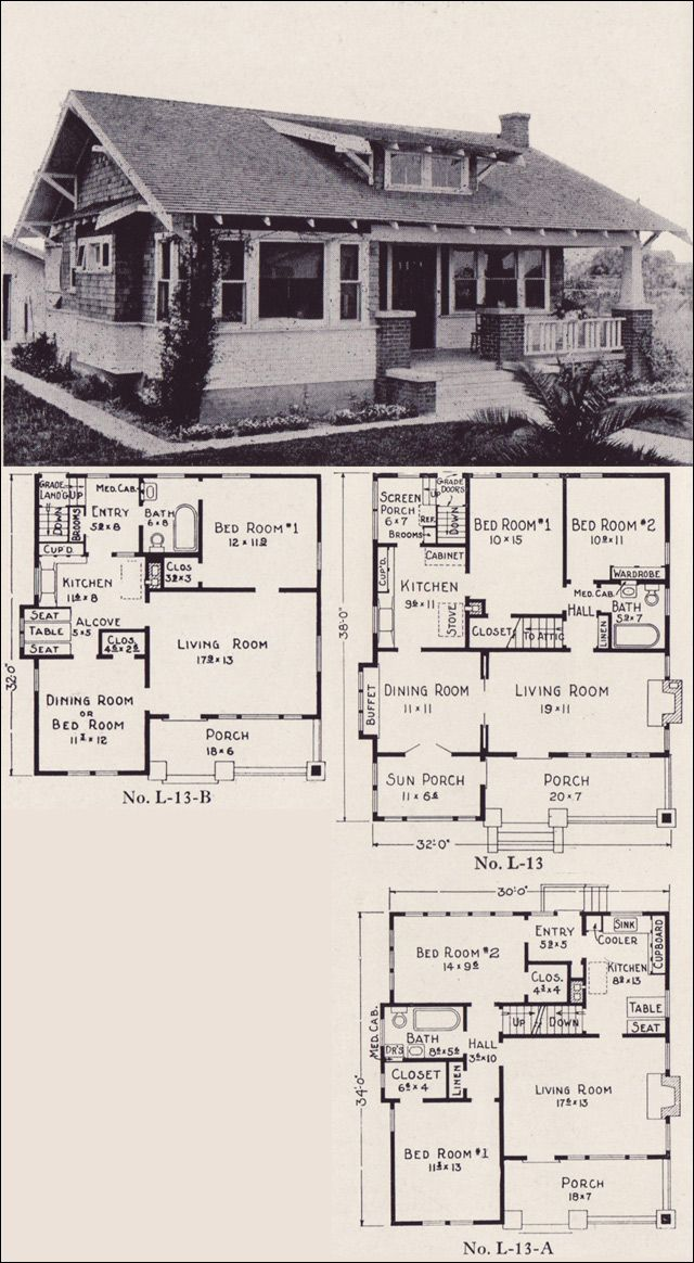 1922 classic california style bungalow house plans e w stillwell los angeles no l 13 for Bungalow designs and floor plans