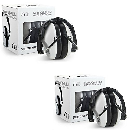 Pro For Sho 34dB NRR Ear Protection Shooting Ear Muffs - Special Designed Lighter Weight & Maximum Hearing Protection , White , 2 Pack