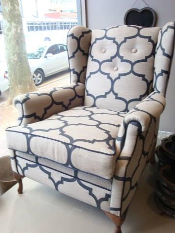 wingback chair in geometric fabric