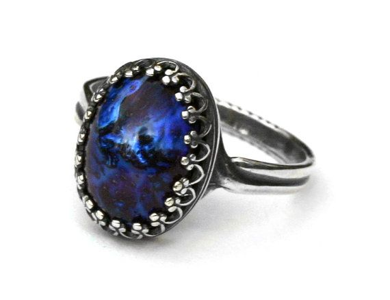Galaxy Opal Ring  Blue Dragon Breath by robinhoodcouture on Etsy, $28.00 #ring #rings #jewelry