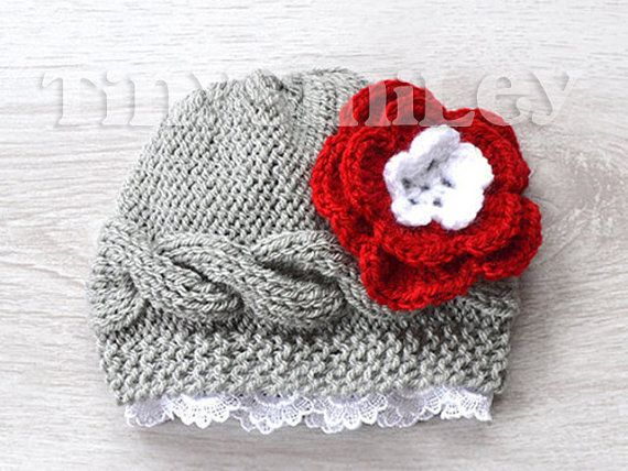 Cable Knit Baby Beanie in Grey with Red Flower, Grey Knit ...