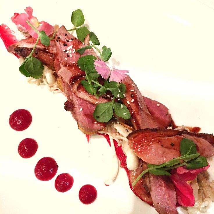 Organic duck breast   mushrooms   raspberry sauce
