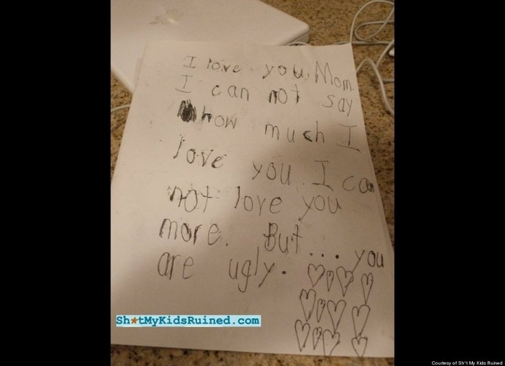 that poor mom!: Kids Notes, Funny Kid Drawings, Valentines Day, Love You Mom, Too Funny, Funny Stuff, Funny Kids Drawings, Kids Ruins, Funny Kids Note