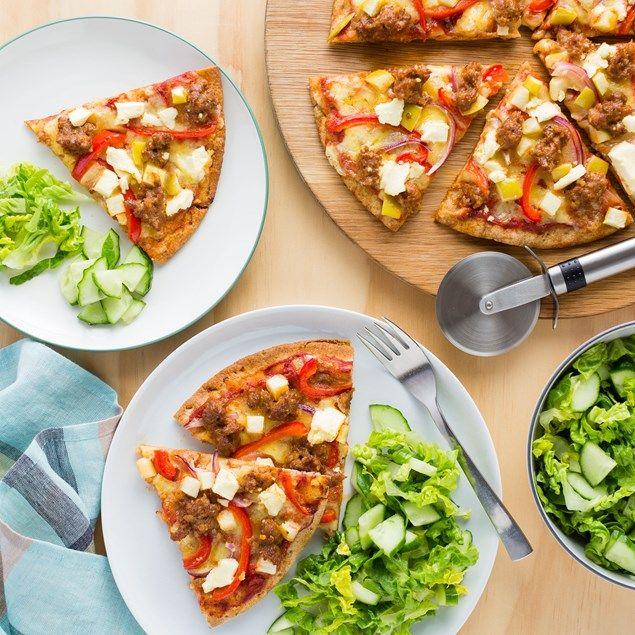 Chorizo, Apple and Feta Pizzas with Chrunchy Salad