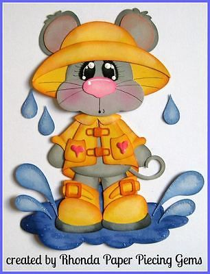 SPRING MICE boy girl paper piecing for Premade Scrapbook Pages die cut by Rhonda