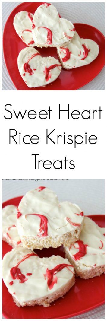 Sweet Heart Rice Krispie Treats are the perfect way to say I love you... rice krispie treat base with white chocolate drizzled on top! Perfecto!!