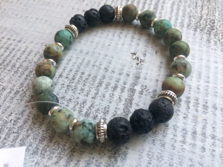 African turquoise and lava stone diffuser bracelet by BarefootCreationsDV on Etsy https://www.etsy.com/ca/listing/503406581/african-turquoise-and-lava-stone