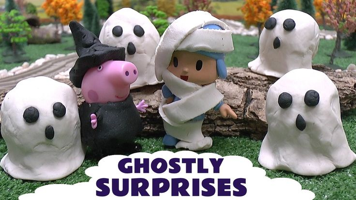 Peppa Pig Halloween Play Doh Disney Movie Ghostly Surprises Pocoyo Thoma... Thomas and Friends Diesel collects the Play Doh ghost surprises and brings them to Peepa Pig and Pocoyo dressed in Halloween Costumes. Each ghost contains a Disney Movie Wikkeez but who will they be? #thomasandfriends   #halloween   #ghost   #playdoh   #disney   #peppapig   #pepa   #pocoyo   #surprisetoys   #wikkeez