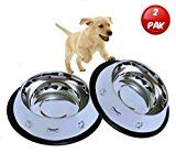 Set of 2 Etched Food Grade Stainless Steel Dog Bowls 32oz Dry Weight Dishwasher Safe Bacteria & Rust Resistant with Non-Skid No-Tip Natural Rubber Base Odor Free Alternative to Plastic