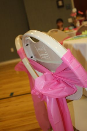 Make chair bows out of plastic tablecloths...so smart! These would be perfect for NB or YWIE.  Inexpensive & makes a big impact. Makes 8 bows per tablecloth.