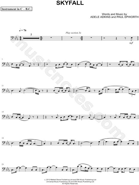 Adele Quot Skyfall Bass Clef Instrument Quot Sheet Music Flute