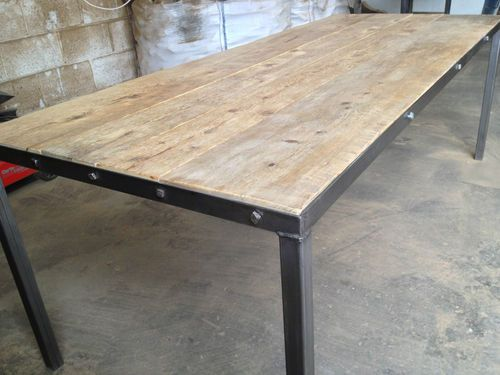 industrial reclaimed timber top and polished steel frame vintage dining table ebay