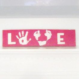 Childrens DIY Handprint and Footprint Love sign. New mom, Baby shower, , Christmas gift, valentines day on Etsy, $12.00