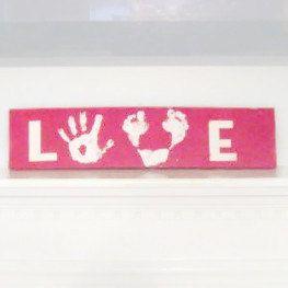 Handprint bricolage pour enfants et l'amour de l'empreinte de signer. Amour signe, fête des mères, nouvelle maman, Baby shower, fête des pères, cadeau de Noël, Saint Valentin