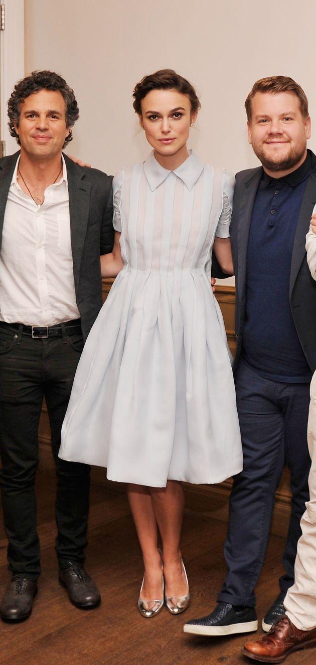Keira Knightley in Prada at the 'Begin Again' press conference. Photo: Stephen Lovekin/Getty