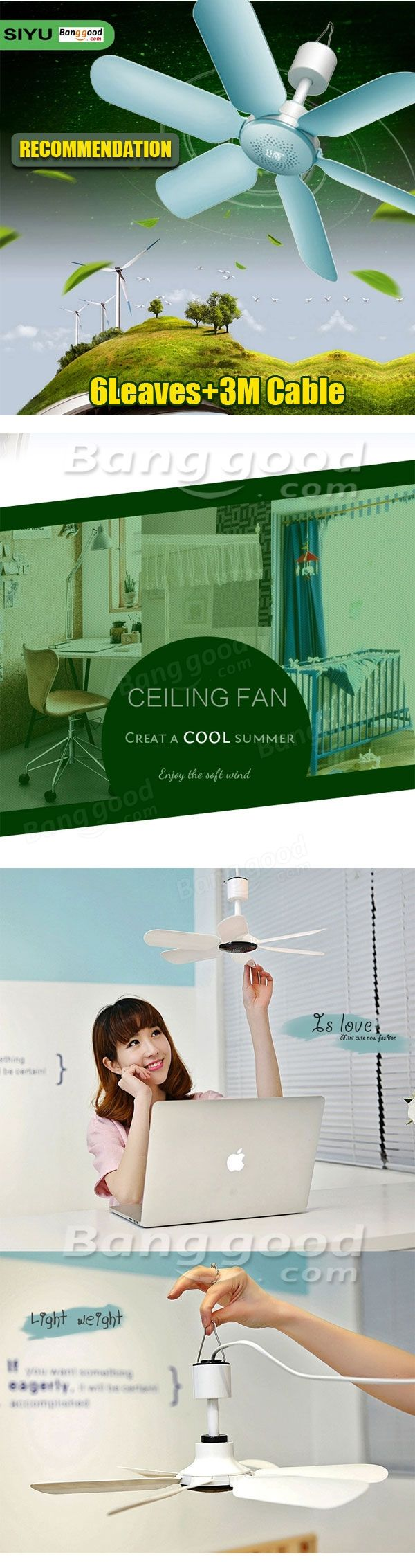 220V 7W Ultra Quiet 6 Leaves Mini Electric Hanging Ceiling Fan Anti Mosquitoes Breeze Cooler Try Me at Banggood
