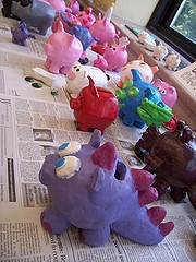 clay piggy banks I do this with 5th grade and they love it! We talk about middle ages using Pygmy clay to hold valuables in, pigs being the most expensive animal on farms---question then is that why modern day piggy banks are in the shape if pigs? They can make any kind if bank